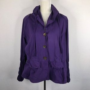 XCVI Shirt Jacket Purple Pockets Long Sleeve 1X